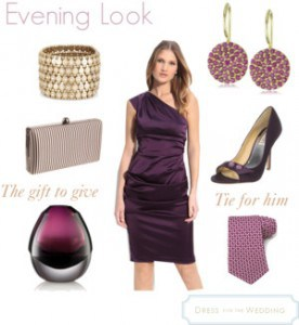 Purple One-Shoulder Evening Dress