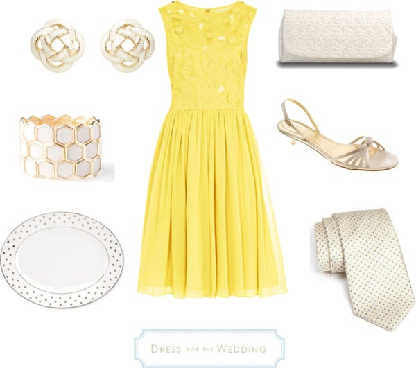 Yellow Dress and White Accessories