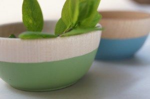 Wooden Mini Bowl Set of Two: Green and Blue