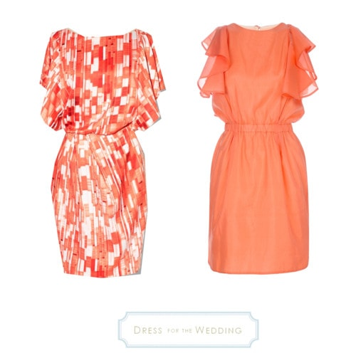 coral dresses for a wedding guest