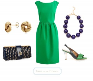 Kelly Green Dress with Navy