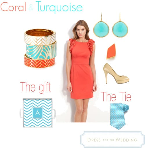 coral dress for a wedding