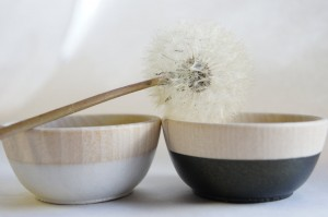 Wooden Mini Bowl Set of Two: Black and White with a Golden Shimmer