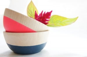 Wooden Mini Bowl Set of Two: Neon Pink and Nite Blue