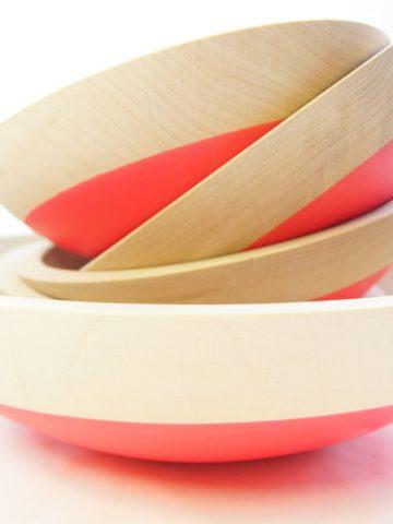 Wooden Salad Bowl Set of 5, Neon Pink