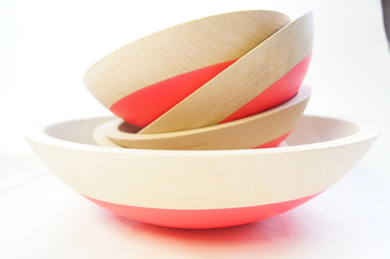 Wooden Salad Bowl Set of 5, Neon Pink