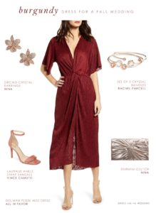 Burgundy wedding guest dress outfit for fall wedding