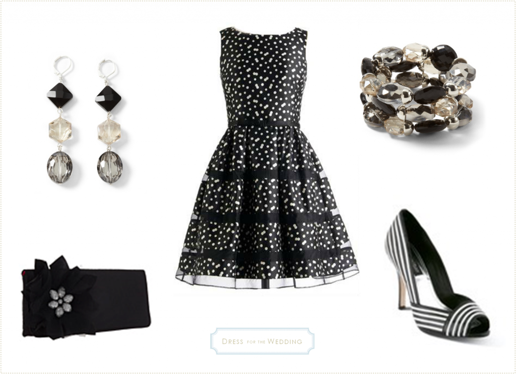 black and white cocktail dress for a wedding