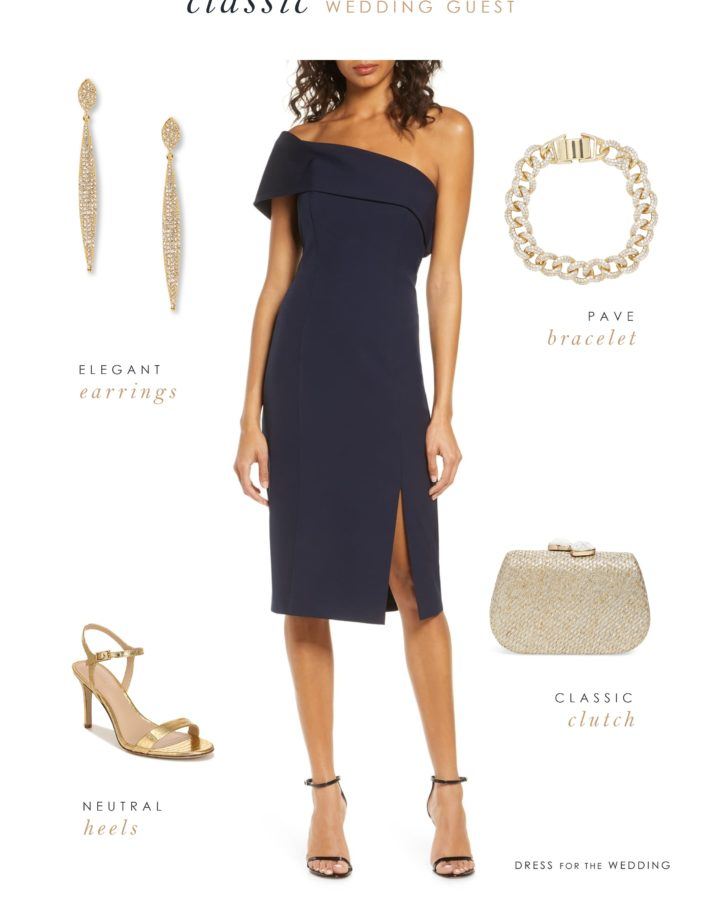 Classic navy blue dress for a wedding guest