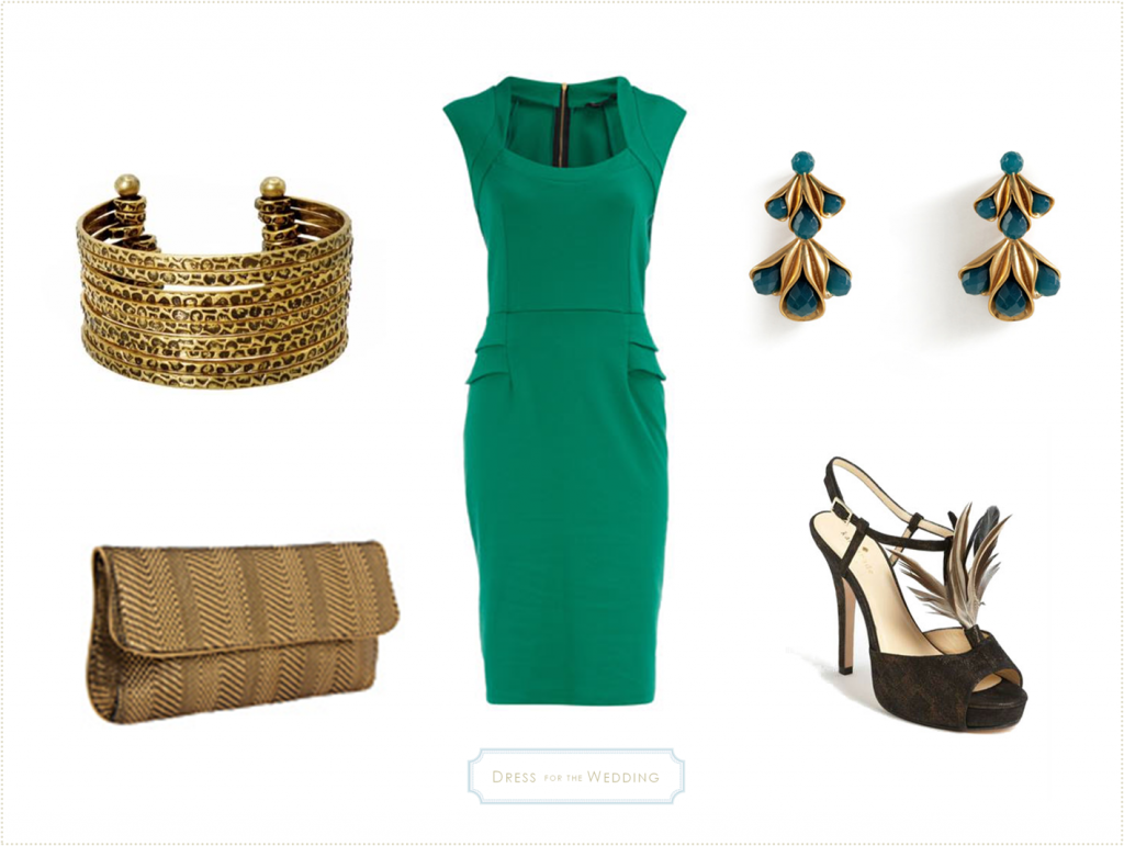 Emerald Green Dress with Gold Accessories