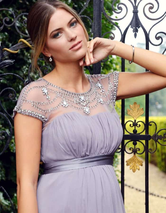 mauve special occasion maternity dress