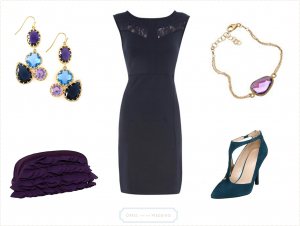 navy lace dress and amethyst accessories