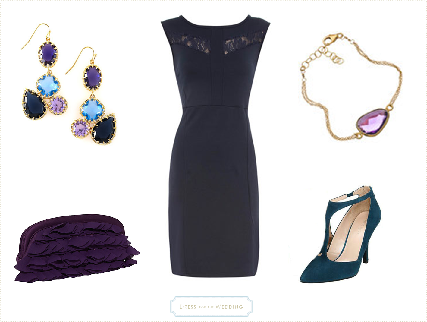 Navy dress for a fall wedding for Jewelry accessories for black dress