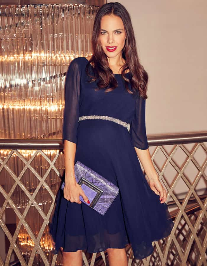 navy blue maternity cocktail dr