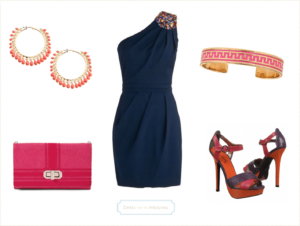 navy blue dress with pink and orange accessories