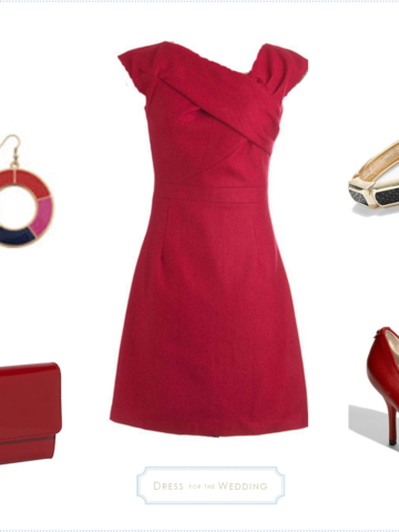Red dress for fall wedding guest