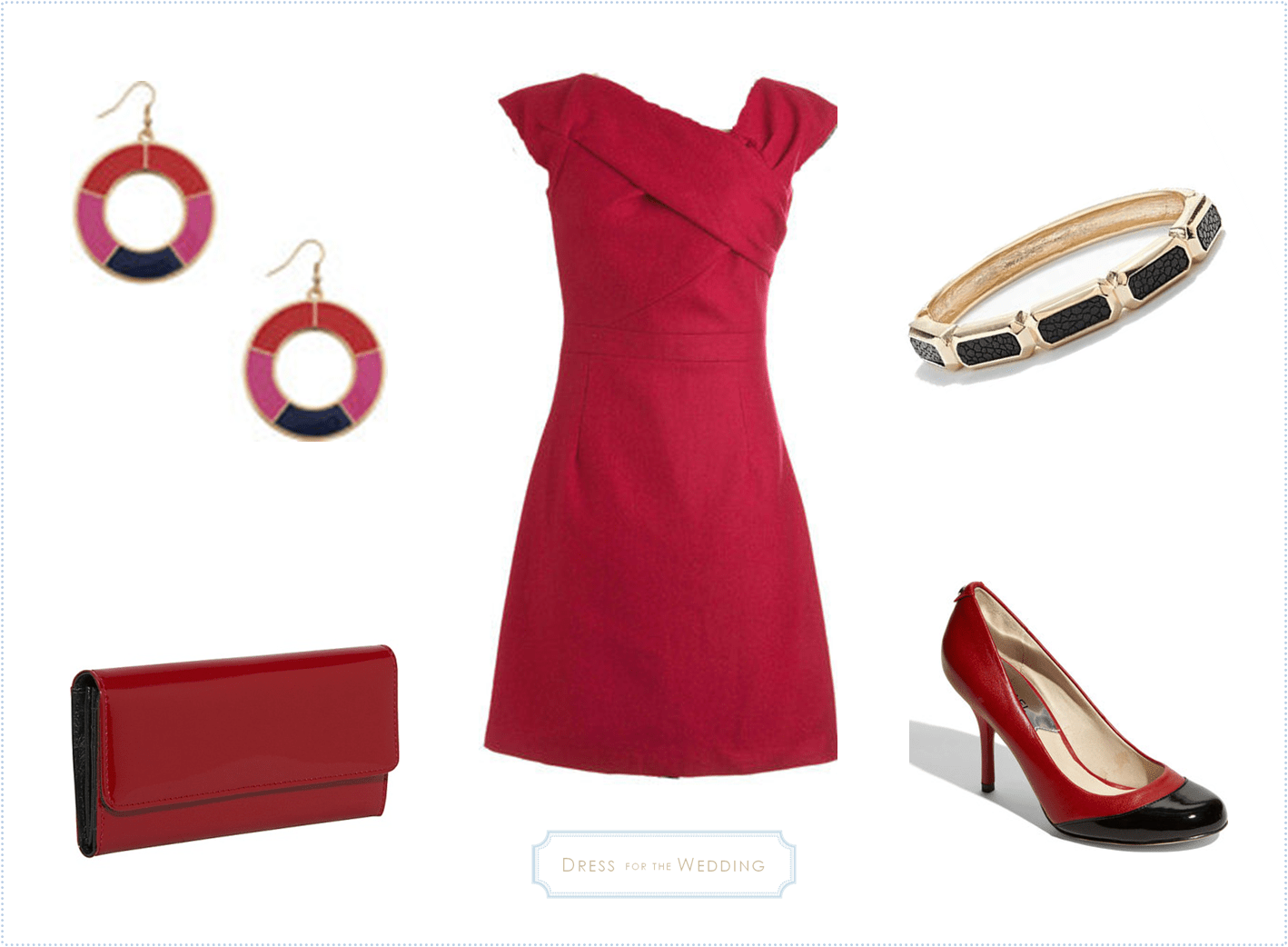 Dress For A Fall Wedding Guest Red Dress with Black