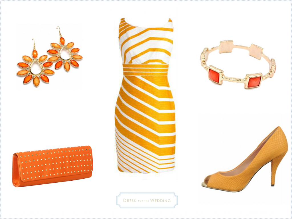 Yellow & White Dress with Orange Accessories