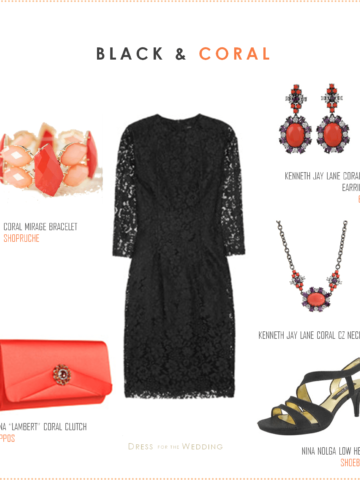 Black Lace Dress and Coral Accessories