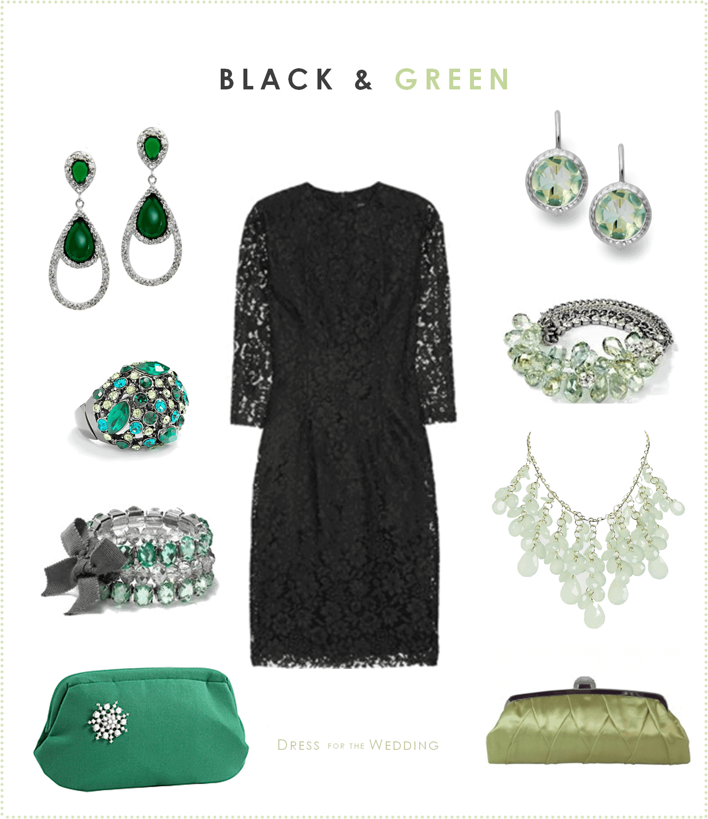 Black lace dress with green accessories for Jewelry accessories for black dress