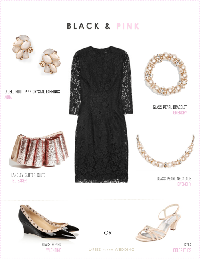 Black Lace Dress and Pink Accessories