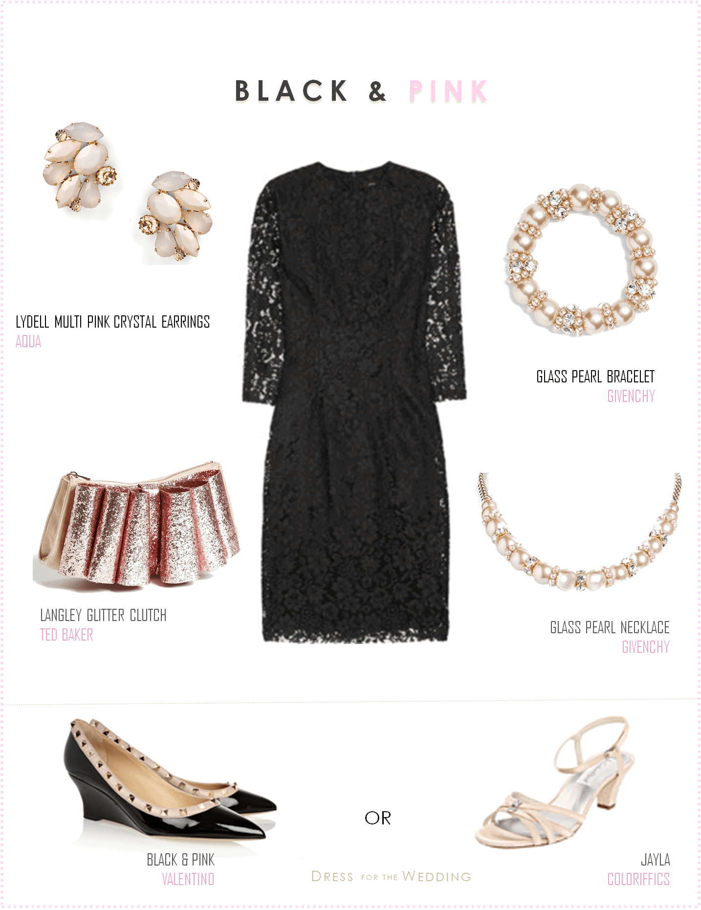 Little Black Lace Dress With Pale Pink Accessories