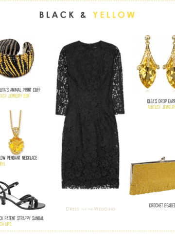 Black Lace Dress and Yellow Accessories