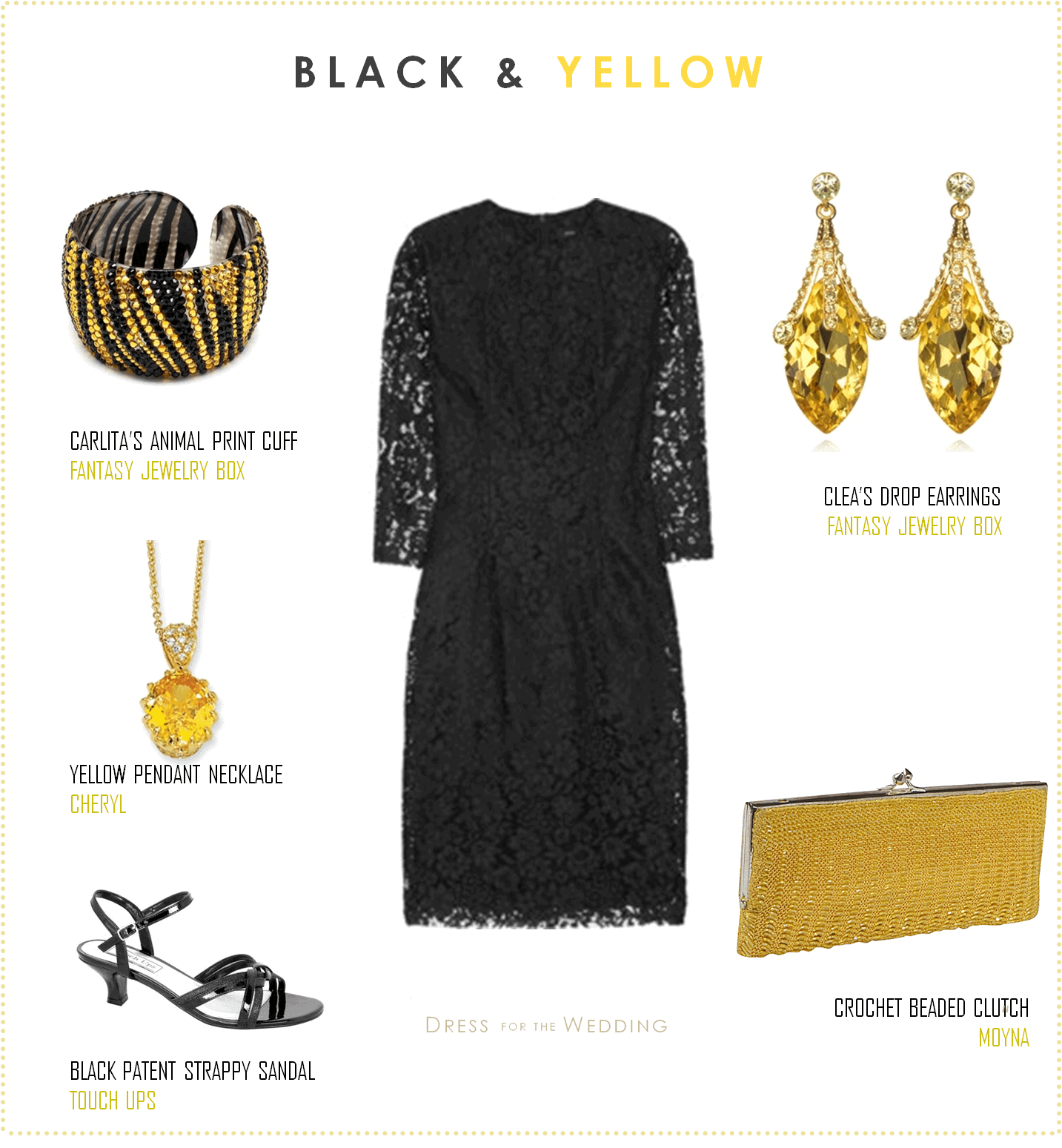 Black lace dress with yellow accessories for Jewelry accessories for black dress