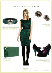Dark Green and Blue Dress for a Wedding Guest