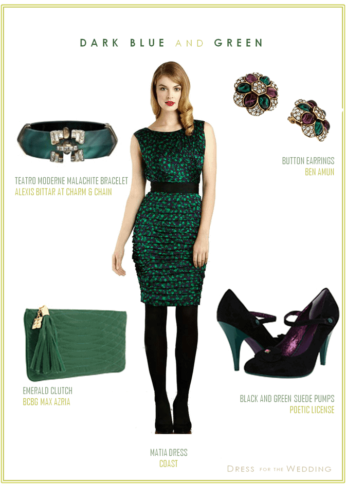 Dark Green and Blue Dress for a Wedding