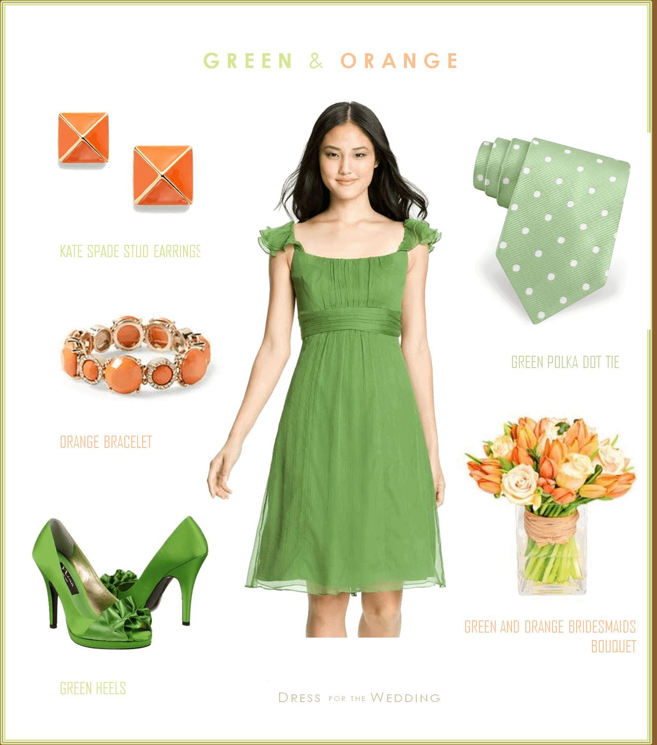 Orange And Lime Green Bridesmaid Dresses Wedding Short