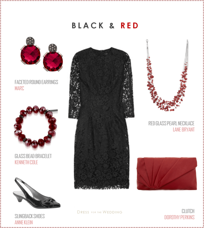 Black Lace Dress with Red Accessories