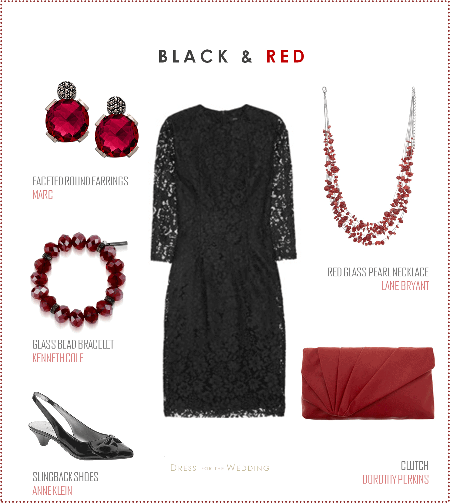 Lace Dress with Red Accessories