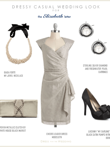 Gray Dress for a Wedding Guest with black and white accessories
