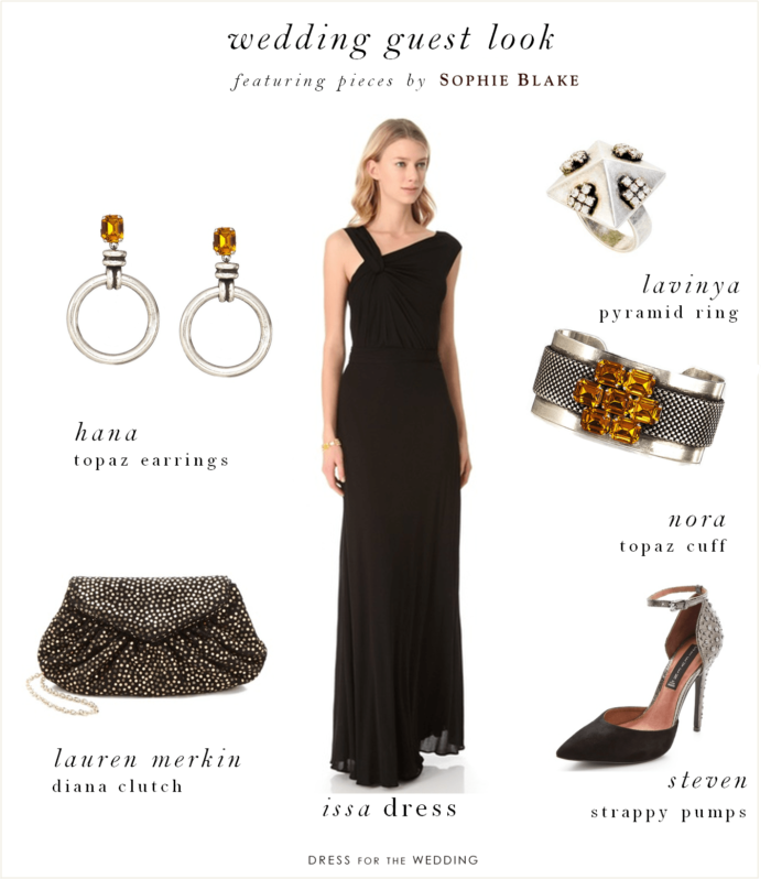 Long black gown for Jewelry accessories for black dress