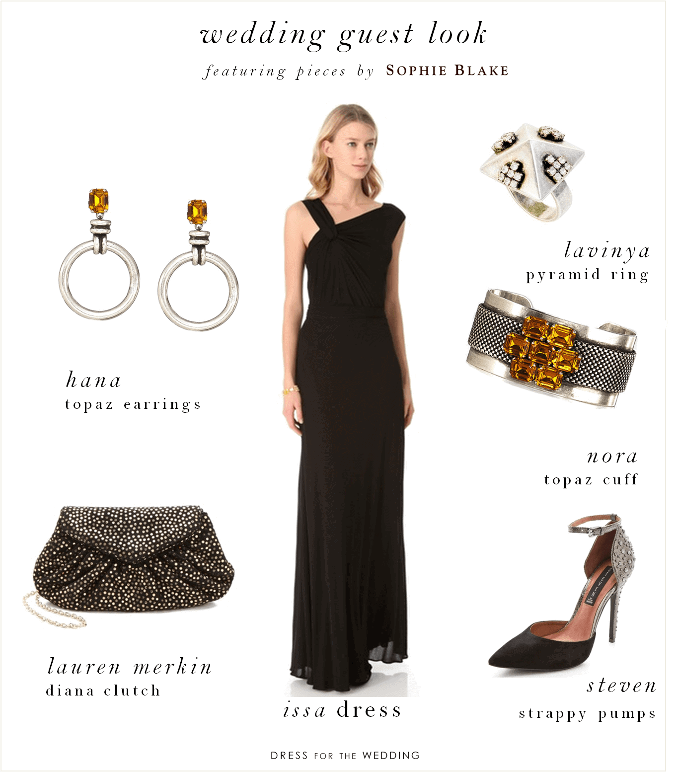 Black dress to wear to a wedding - Accessories By Sophie Blake With A Long Black Gown