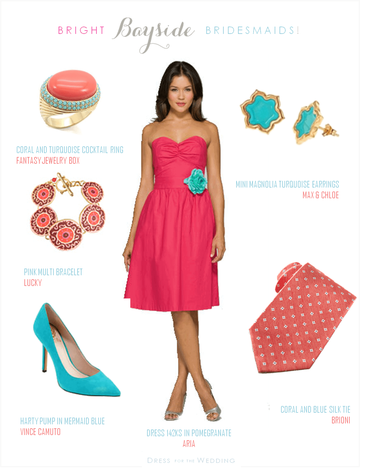 coral and turquoise wedding look coral dresses for wedding Coral and Turquoise Wedding Look