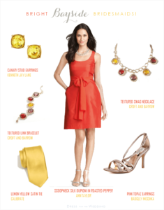 Red Orange Bridesmaid Dress with Lemon Yellow Accessories