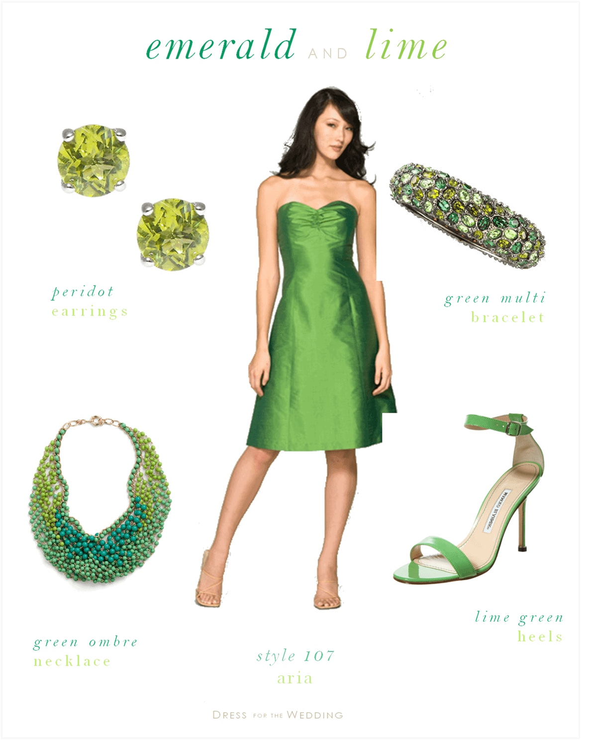 Emerald green bridesmaids dress and lime green accessories for Green dresses to wear to a wedding
