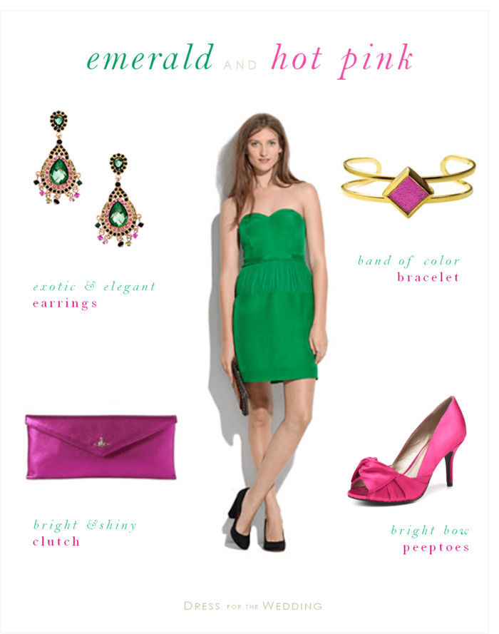 Emerald green dress for a wedding guest with hot pink for Emerald green dress wedding guest