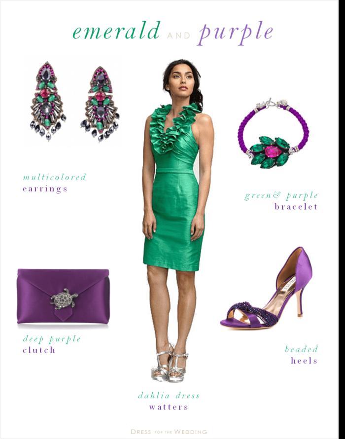 emerald green and purple