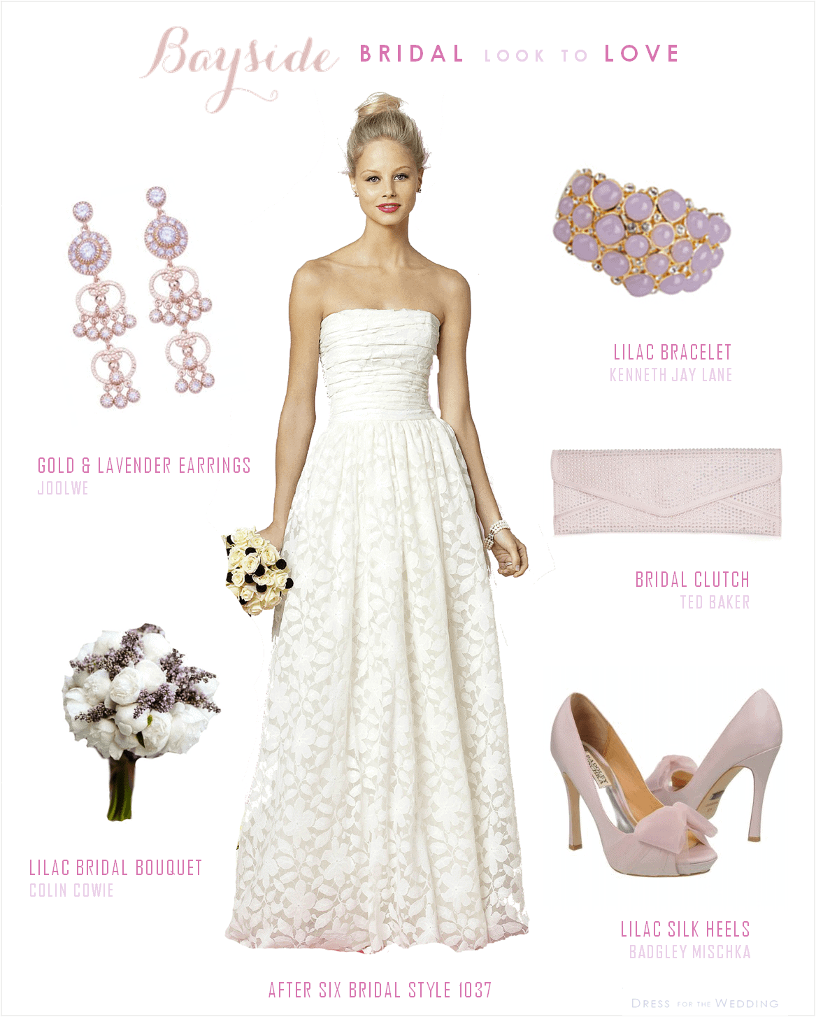 Lace Wedding Dress With Lavender Accessories