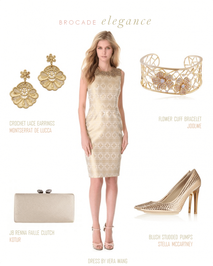 Gold brocade dress for Golden dresses for a wedding