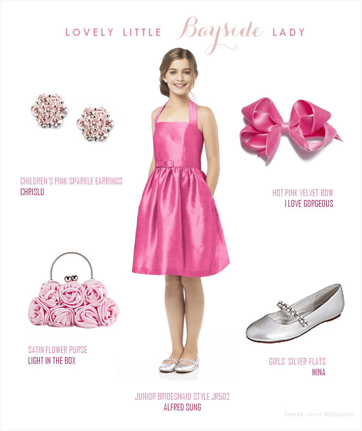 Hot pink junior bridesmaid dress for Light blue wedding dress meaning