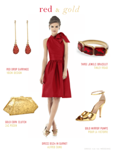 Red dress and Gold accessories