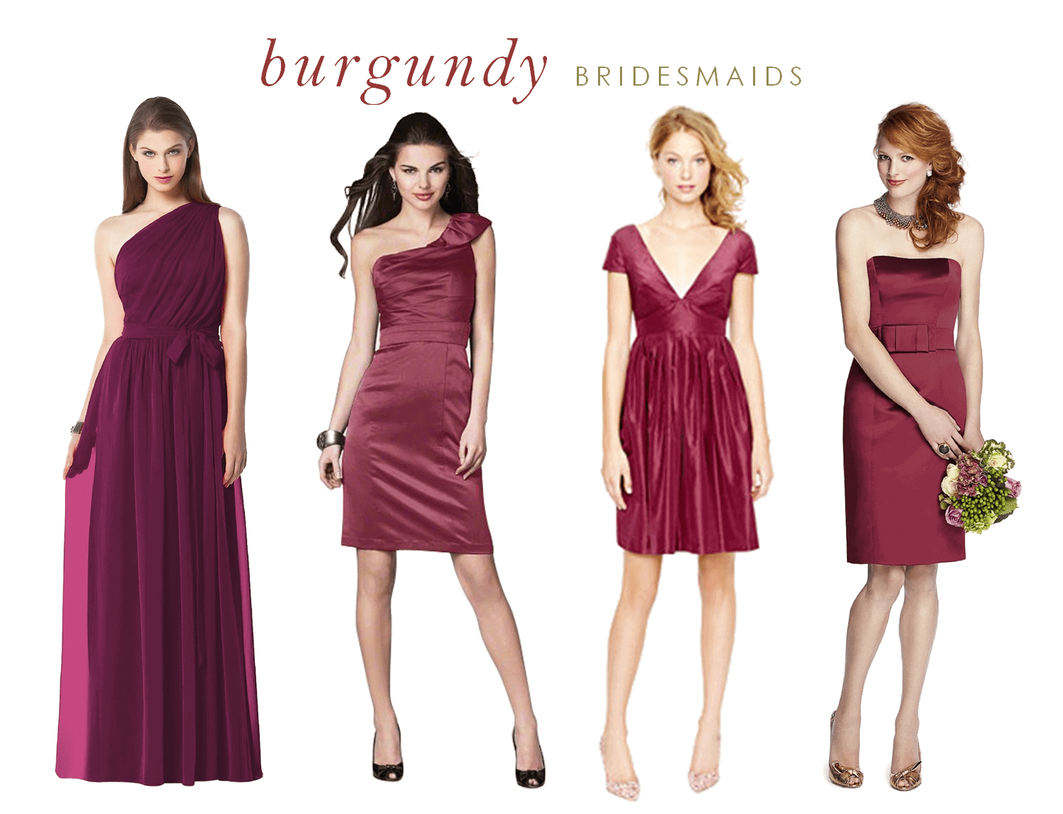 Burgundy bridesmaid dresses for What shoes to wear with wedding dress