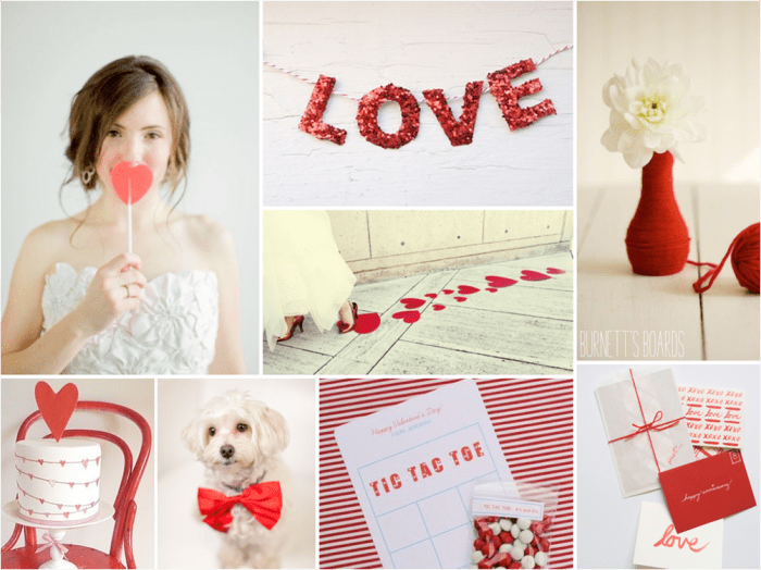 red and white valentines wedding