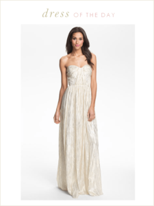 Wedding Dress of the Day: Erin by Erin Fetherston Shirred Metallic Chiffon Gown