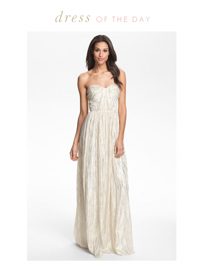 Wedding Dress Of The Day Erin By Fetherston Shirred Metallic Chiffon Gown