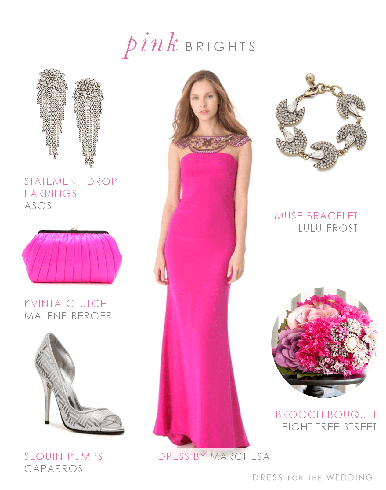 Hot Pink Formal Gown Inspired by EightTreeStreet Modern Florals